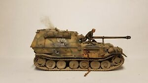 Expertly Painted 1/72 WW2 German Knocked Out Ferdinand Tank With AB Figure.
