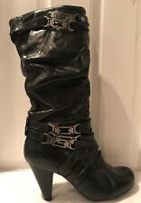 Two Lips Vantage Black Leather Knee High Heeled Boots Strap & Buckle Size 8.5