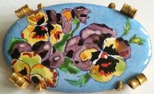 HUGE BROCH ENAMEL FLOWERS Broche Pensee 1930 1940 Vintage PERFECT  LAITON DORÉ