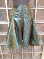 Love @ Topshop Verde y Oro Metálico Falda, 10 Reino Unido, estilo años 50
