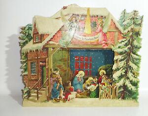 Uralte lithografierte Papierkrippe Weihnachten um 1900 Weihnachtskrippe !