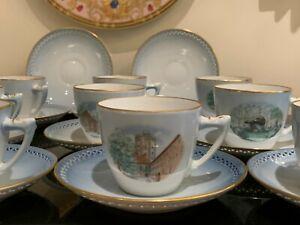 Bing & Grondahl Porcelain BIG36 Denmark Historical Building 10 Cups and Saucers