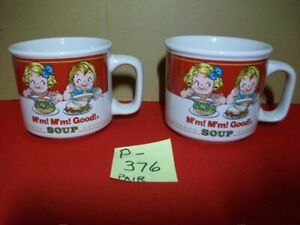 VINTAGE 1997 COLLECTIBLE SET OF CAMPBELL'S SOUPS MUGS/CUPS W/ KIDS & FAMOUS SONG