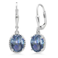 3.60 Ct Oval Cassiopeia Mystic Topaz 925 Sterling Silver Earrings