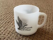 Vintage Federal USA Milkglass Coffee Mug- Canada Goose/Canvasback White Glass