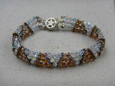 Signed V Sterling Silver Vintage  Swarovski Crystal Bracelet Size 7''