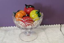 CLEAR CUT GLASS COMPOTE WITH 5 PIECES OF ART GLASS FRUIT