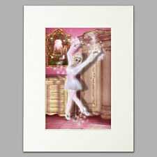 Practicing Ballerina Print women girls pink bedroom Mounted Wall Art A4 12 x 16""