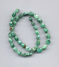 "FACETED TIBETAN TURQUOISE OVAL PILLOW BEADS - 15.75"" Strand - 1723C"