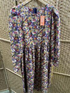 Vintage Laura Ashley Long Sleeve Cotton  Floral Midi Dress Size 16