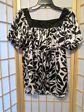 Womens Cato Leaf Print Blouse Top M Black White Stretch
