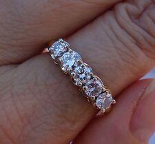 1.15ct H/Si2-Si3 5 stone diamond vintage wedding anniversary band 14k YG