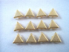 """12 Gold Tone Stippled Triangle Studs Clothing Decoration 3/8"""" Leather Craft"""
