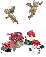 Vintage LOT of Plastic Christmas Ornaments Golden Angels Snowman Mistletoes