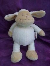 Doudou mouton blanc beige foulard vert BENGY AGNEAU 26CM