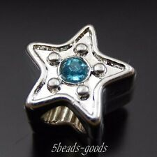 15pcs Antiqued Silver Alloy Crystal Five Star Beads Pendant Charms Decor 39755