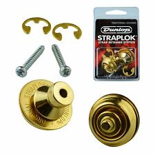 Dunlop Guitar Mount Straplocks Locking Strap Buttons (Traditional Fitting) Gold