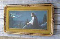 Vintage Gold Art Deco Wood Gesso Framed 36x20 Print Jesus Mount of Olives