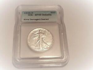 1938-d- silver Walking Liberty half dollar