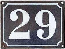 Large old French house number 29 door gate plate plaque enamel steel metal sign