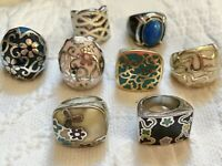 Lot Of 8 Silvertone Goldtone Stone And Enamel Rings Size 6 To 7