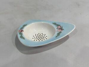 Vintage Porcelain China Tea Strainer, Light Blue with Raised Pink Roses Design