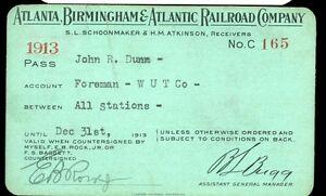 1913 Atlanta Birmingham & Atlantic RR Co. Railroad Pass Ticket