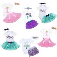 Baby Girls Shiny Mermaid Romper Tutu Dress Cake Skirt Headband Birthday Outfits
