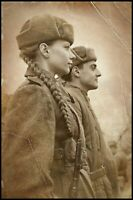 War Photo Soviet soldiers in uniform woman and man Military WW2 4x6 Y