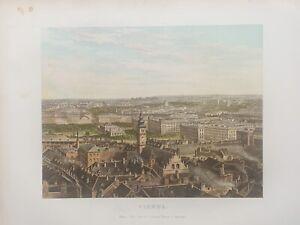 1878  Panoramic Birds-eye View of Vienna Original Antique by William Collins