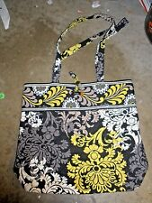 VERA BRADLEY BAROQUE BLACK WHITE YELLOW QUILTED SHOULDER PURSE TOTE BAG