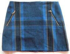 GAP Navy Blue Black Buffalo Plaid Mini Zip Wool Skirt 12 NWT Women (MSRP $59.95)