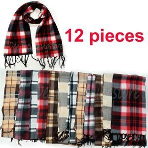 12 Plaid Men Women Checkers Fleece Warm Winter Scarf Thick Shawl Wholesale Lots