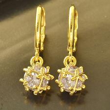 Fashion Light Purple CZ 14K Yellow Gold Filled Womens Ball Dangle earing