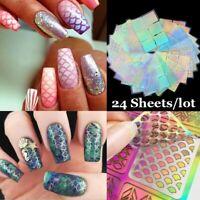 24 Sheet Laser Nail Art Guide Tip Hollow Stencil Sticker Template Vinyls Decor