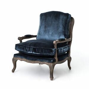 """37"""" H Vintage Shakespeare Accent Chair Bergere Arm Club Chair Space Blue Velvet"""