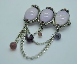 SIMPLY UNIQUE STYLE PURPLE/CLEAR STONE WEDDING PARTY PIN/ BROOCH FASHION E3