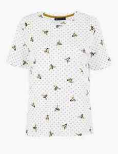 D4 BNWT M&S Collection Pure Cotton Bee Print Straight Fit T-Shirt Top Size 14