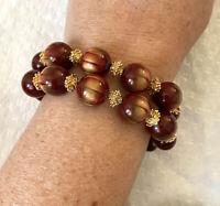 Vtg Trifari 2 Strand Lucite Bead Bracelet