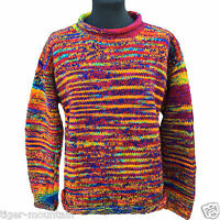 HIPPY BOHO HAND KNITTED RAINBOW MULTI STRIPE JUMPER - QUALITY NEPAL FAIR TRADE