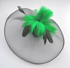Black & turquoise blue or pea green mesh & feather birdcage fascinator hair clip