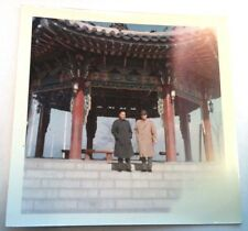 Vintage 60's Photo Two American Businessmen Under Pagoda While Visiting China