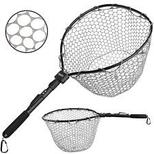 PLUSINNO Fly Fishing Net Fish Landing Net, Trout Bass Net Soft Rubber Mesh Catch