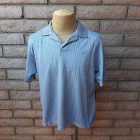 Ashworth Golf Shirt Mens Medium Polo Mercerized Cotton Gray Blue Short Sleeve
