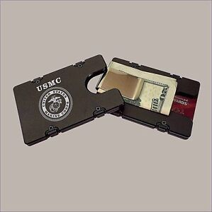 USMC Billet Aluminum Wallet with removable Money Clip