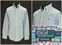 Mens Polo Ralph Lauren Shirt Check Long Sleeve Cotton Button Custom Fit Size S