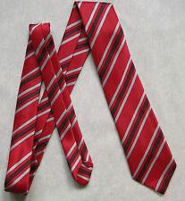Bnwot New Boys Tie Mod Casual Age 6-12 Club School Striped Red Black Silver Grey
