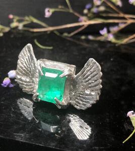 Clovis Emerald Ring, Sterling Silver, Hallmarked, Size K