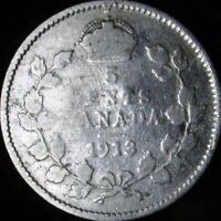 1913 VG Details Damaged Canada Silver 5 Cents - KM# 22
