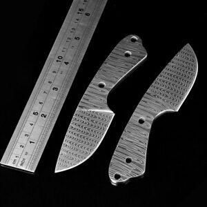 Damascus Pattern Outdoor Knives Blank Blade Tool Full Tang DIY Knife Making